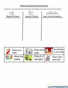 Ficha interactiva Rules and Laws Sorting Activity