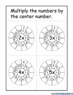 Interactive worksheet 2,3,4 and 5 Times Table