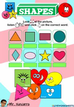 Interactive worksheet Shapes (Look, listen and click)