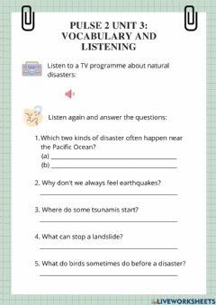 Interactive worksheet Pulse 2 Unit 3: vocabulary and listening