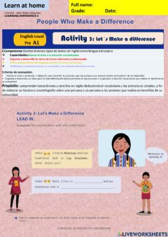 Interactive worksheet People who make a difference activity 3 week17 A1 irc