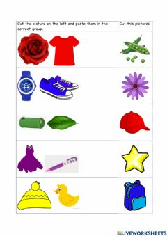 Interactive worksheet Sorting Colours