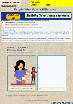 Interactive worksheet People who make a difference activity 3 week17 A1 A2irc