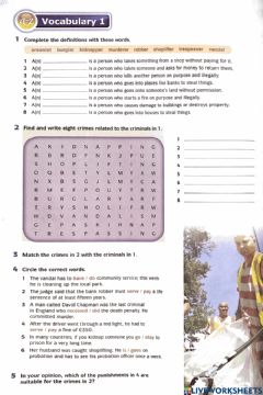 Interactive worksheet DOWNLOAD: Unit 6 (Vocabulary 1 page 72)