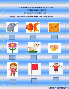 Ficha interactiva Identify the picture and write their initial sound