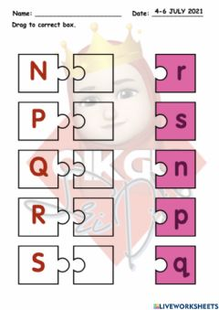 Ficha interactiva Drag and drop (Letters) n-s