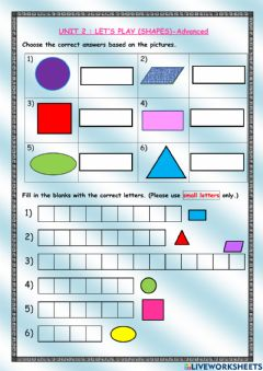 Interactive worksheet Unit 2 Let's Play -shapes (Advanced)