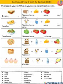 Interactive worksheet Eating Right- I want...