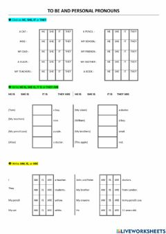 Interactive worksheet Pronouns and BE