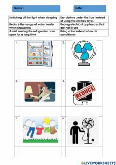 Interactive worksheet Ways to save usage of electrical energy
