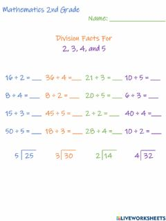 Ficha interactiva Division Facts For 2, 3, 4, and 5