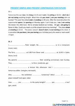 Interactive worksheet Present simple and present continuous for future