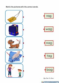 Interactive worksheet 'ag' word family