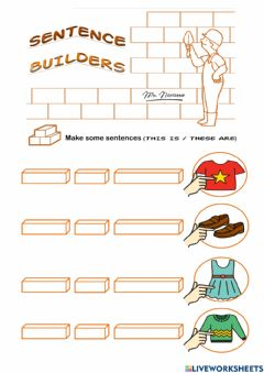 Interactive worksheet This is - These are (Sentence Builders)