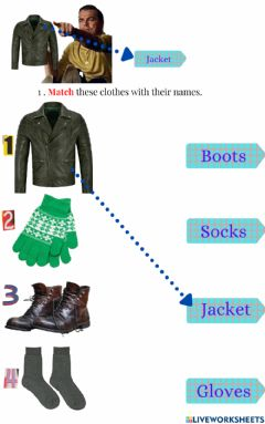 Interactive worksheet Winter Clothes Matching