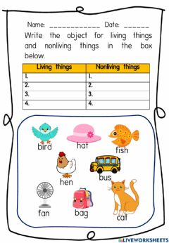 Interactive worksheet Living things and Nonliving things