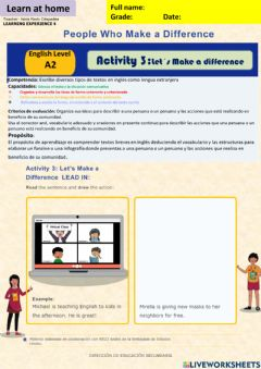 Interactive worksheet People who make a difference activity 1 week17 A2 irc