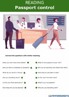Interactive worksheet At the airport - Passport Control