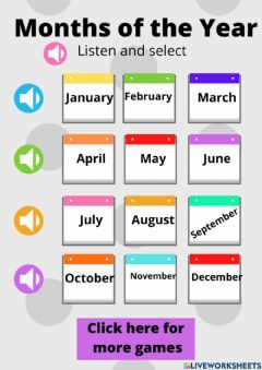 Interactive worksheet Months of the year