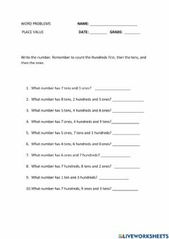 Interactive worksheet Word Problems- Translate statements into numbers