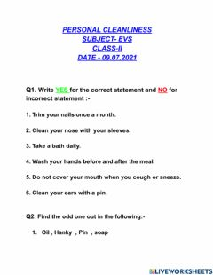 Interactive worksheet Personal Cleanliness