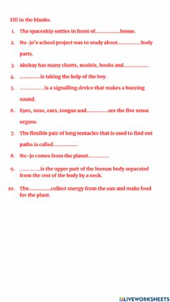 Interactive worksheet Nujo's Project