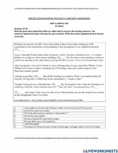 Ficha interactiva Spm cefr reading paper part 4 gapped text and part 5 new worksheets