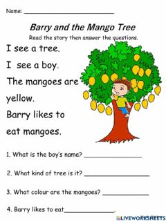 Interactive worksheet Barry and the Mango Tree