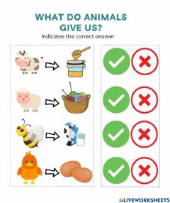 Interactive worksheet What do animals give us?