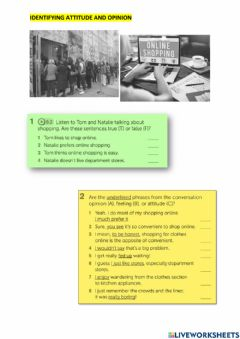 Interactive worksheet Listening and vocabulary