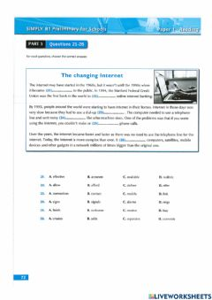 Interactive worksheet 7A reading p73-74