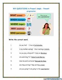Interactive worksheet Wh-quetsions