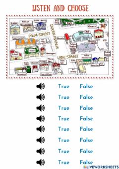 Ficha interactiva Giving directions- prepositions on place for places in a town