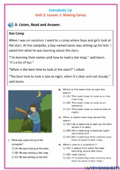 Interactive worksheet Everybody Up 5: Unit 2: Lesson 2: Making Camp D