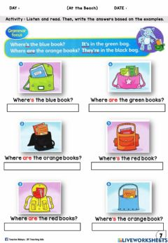 Interactive worksheet At the Beach Year 2 (Read and Write)
