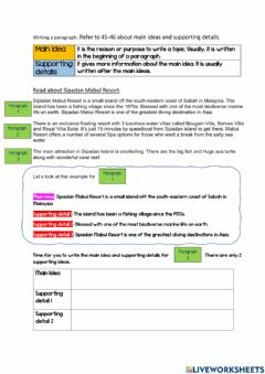 Interactive worksheet Main Idea & Supporting details