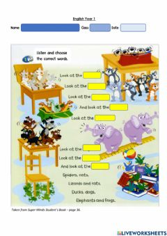 Interactive worksheet Year 1: Pet Show 4 - Plural form - like - don't like