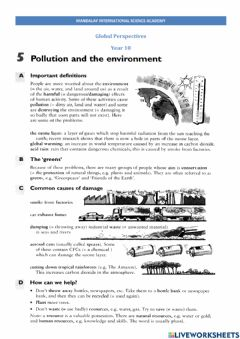 Interactive worksheet Pollution and global warming