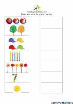 Interactive worksheet Count and write the correct number