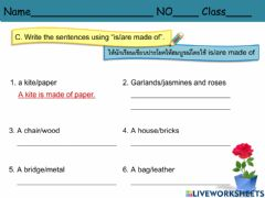 """Interactive worksheet Write the sentences using """"is-are made of""""."""