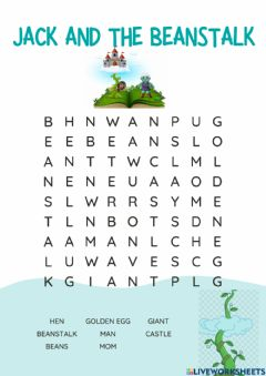 Interactive worksheet Jack and the beans talk (wordsearch)