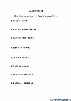 Ficha interactiva Distributive property of multiplication over addition and subtraction