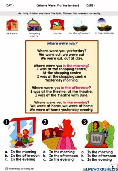 Interactive worksheet Where Were You Yesterday? (Multiple Choices)