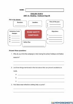 Interactive worksheet UNIT 10 - Reading - Textbook Page 96