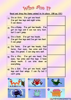 Interactive worksheet Unit 8 Who Am I ? (page 101)