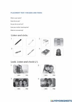 Interactive worksheet placement test for kids and teens