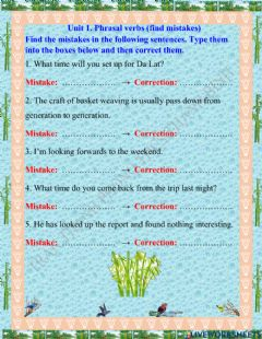 Interactive worksheet Exercise - Phrasal verbs (Find mistakes) - Unit 1 - Grade 9