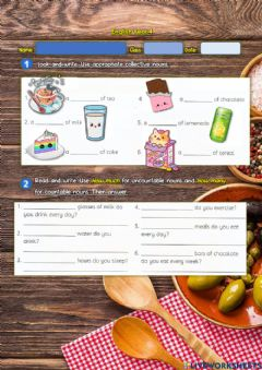 Ficha interactiva Year 4: Eating Right 7 - Collective Nouns - Much & many
