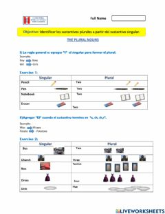 Interactive worksheet The Plural Nouns