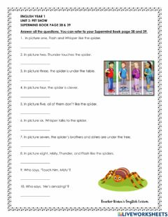 Interactive worksheet Pet show  (page 38&39)